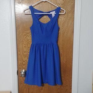 Candies Blue Diamond Textured Print Dress